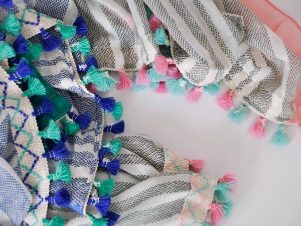 pashmina pon pom boho chic azul rosa kaki