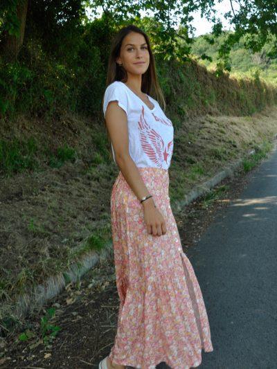 Falda midi floral super chic con botones delanteros en tonos rosados